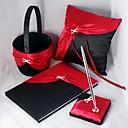 elegante Hochzeit Kollektion in kräftigem Rot und schwarze Satin-Set (4 Stück)