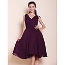 Knee-length Chiffon Bridesmaid Dress - Plus Size / Petite A-line / Princess V-neck