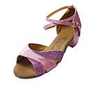Non Customizable Women's/Kids' Dance Shoes Latin/Ballroom Leatherette/Sparkling Glitter Flat Heel Silver/Pink