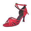 Non Customizable Women's Dance Shoes Latin/Ballroom Satin Stiletto Heel Gold/Red