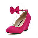 Suede Closed Toe Wedges With Bow For Party/Evening (More Colors)