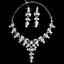 valkoinen helmi kaksiosainen fantasy naisten korusetti (45 cm)