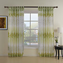 (Two Panels) Green Leaf Country Sheer Curtain