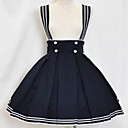 Rodilla-longitud de tinta Cotton Blue Sailor Lolita Falda