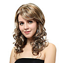 Capless Medium Blonde Curly Synthetic Wigs