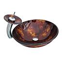 4254 gehard glazen vat ronde spoelbak met pop-up afvoer en Waterval Kraan en montagering
