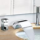 Grifo de bañera - Contemporáneo - Cascada / Chorro lateral - Acero Inoxidable (Cromo)