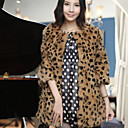 Elegant 3/4 Sleeve Collarless Rabbit Fur Party/ Career Coat