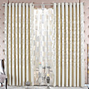 (Two Panels) Beige Chenille Jacquard Energy Saving Curtain