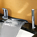 Hedendaagse Brede Waterval Twee handgrepen Tub Faucet Met Handdouche (Chrome Finish)