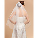 Wedding Veils Two-tier Fingertip Veil With Applique Edge