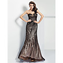 Formal Evening Dress Sheath/Column One Shoulder/Sweetheart Sweep/Brush Train Satin/Tulle