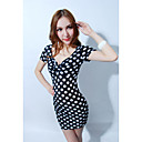 Women's Polka Dot Black/Multi-color/Red/White Dress , Sexy/Bodycon Deep V Short Sleeve