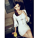 Women's Solid Dress , Party Round Neck ½ Length Sleeve Lace
