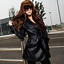 Kvinners Belted Solid Color PU Leather Trench Coat