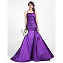 Sweep/Brush Train Taffeta Bridesmaid Dress - Grape Plus Sizes / Petite Trumpet/Mermaid Sweetheart / Spaghetti Straps