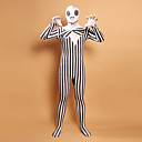 Black and White Stripes Zombie Cabeça Lycra Zentai