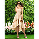 Asymmetrical / Knee-length Chiffon Bridesmaid Dress - Champagne Plus Sizes / Petite A-line / Princess Sweetheart / Strapless
