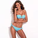 Women's Halter Bikinis , Geometric Polyester/Spandex Blue