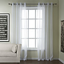 Cotton Blend Solid White Sheer Curtain (Two Panels)