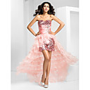 Prom / Formal Evening Dress - Pearl Pink Plus Sizes / Petite A-line Strapless Asymmetrical Organza / Sequined