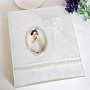 Elegant White Wedding Photo Album with Oganza Flower