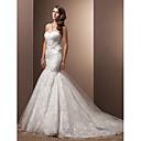 Vestido de Noiva - Marfim Fit & Flare Coração Cauda Corte Renda/Organza