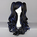 Black and Blue Blended Curly Haarzopf 70cm lange Perücke Gothic