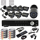 8CH D1 Echtzeit H.264 High Definition 600TVL CCTV DVR Kit (8pcs Wasserdicht Tag Nacht CMOS Kameras)