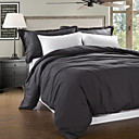 Simple&Opulence® 3-Piece Modern Stylish 100% Linen Garment Wash Black Duvet Cover Set