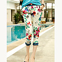 Floral rodillo de impresión para damas Hem recortada Pantalones