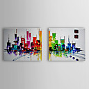 Oil Painting Abstract Cityscape Set of 2 1307-AB0501 Hand-Painted Canvas