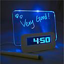 שעון לוח הודעות אור הכחול אזעקה דיגיטלית עם רכזת 4 יציאת USB (USB)