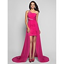 TS Couture Formal Evening Dress - Fuchsia Plus Sizes / Petite Sheath/Column One Shoulder Short/Mini / Asymmetrical Chiffon