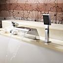 Grifo de bañera - Contemporáneo - Alcachofa incluida / Cascada - Acero Inoxidable (Cromo)