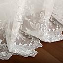 (Deux panneaux) feuilles gracieuses à broder de polyester voilage