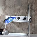 Sprinkle® Sink Faucets LED / Waterfall / Wall Mount with Chrome Single Handle Five Holes