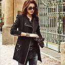 Women's Trench Coat , Casual Faux Leather/Wool Blends