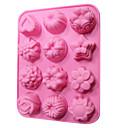 silicone gâteau moule de bonbons de chocolat 12 fleurs (couleur aléatoire)