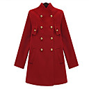 Women's Black Trench Coat , Vintage/Casual Long Sleeve Wool Blends
