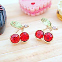 Women's Japanese And Korean Version Cute Red Cherry Crystal Earrings E96