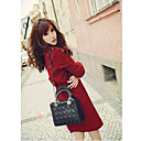 Women's Red Trench Coat , Work Long Sleeve Wool