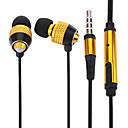 Volume Controlling Golden 3.5mm In-ear Earphones w/ MIC and Clip for iPhone 6 iPhone 6 Plus (132cm)