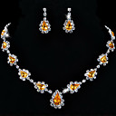 Drops Design Alloy with Rhinestone&Acrylic Necklace,Earrings Jewelry Set(More Colors)