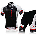 INBIKE LA282 Men's Cycling Short Sleeve T-shirt + 1/2 Pant Suit - Black + Red + White