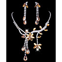 Elegant Alloy with Rhinestone&Acrylic Necklace,Earrings Jewelry Set(More Colors)