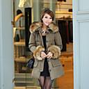 Kvinnors Casual Fur Cuff Coat
