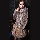 Long Sleeve Hooded Faux Fur Office/Casual Coat