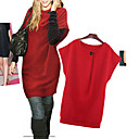 Women's Solid Black/Gray/Red Dress , Casual Crew Neck Long Sleeve Button