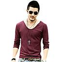 Herre V-Neck Pure Color Cotton langermet T-skjorte